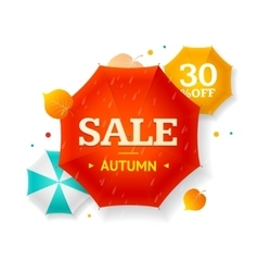 Big Sale Autumn Umbrella Label vector image
