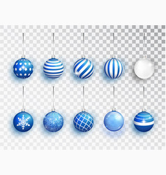 blue christmas balls set with different vector image