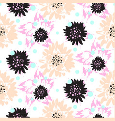 bold brush strokes floral seamless pattern vector image