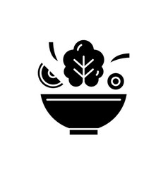 bowl of salad black icon sign on isolated vector image