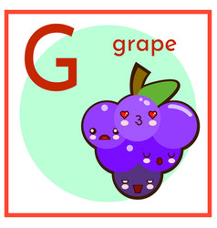 cartoon fruit alphabet flashcard g is for grape vector image