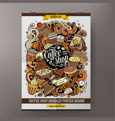 cartoon hand drawn doodles coffee poster vector image
