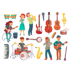 Cartoon young singers with microphones and vector