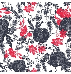Charcoal Red Kimono Flowers Seamless vector