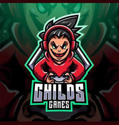 Child gamer esport mascot vector
