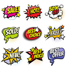 comic speech bubbles with promo words discount vector image