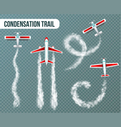 condensation trail airplanes realistic vector image