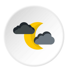 Crescent moon and clouds icon flat style vector