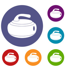 Curling stone icons set vector