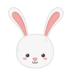 cute rabbit head animal on white background vector image