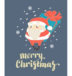 Cute Santa Claus hiding Christmas present behind vector