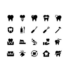 dental glyph icons vector image