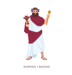 Dionysus or bacchus - god or deity wine vector