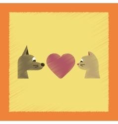 Flat shading style icon cat dog heart vector