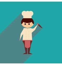 Flat web icon with long shadow Man cook vector
