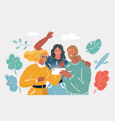 friends taking selfies vector image