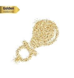 Gold glitter icon of nipple isolated on vector