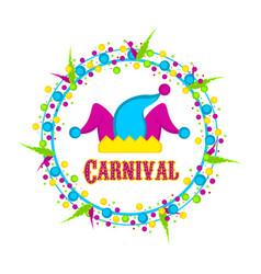 Harlequin hat carnival label vector