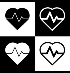 Heartbeat sign black and vector