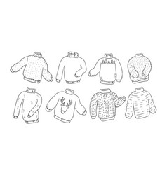 hipster sweaters set for coloring vector image