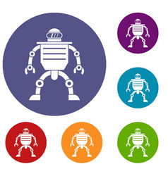 Humanoid robot icons set vector
