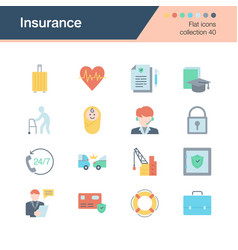 insurance icons flat design collection 40 vector image