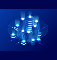 isometric web hosting data backup copy recover vector image