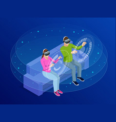 isometric young man and woman wear the virtual vector image