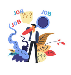 Job male candidate searching for vacant place vector