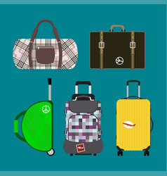 Journey suitcase travel bag vector