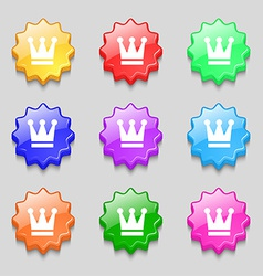 King Crown icon sign symbol on nine wavy colourful vector image