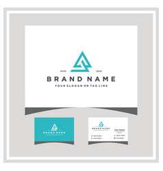 Letter ab logo design and business card vector
