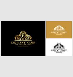 Letter e logo design luxury gold vector