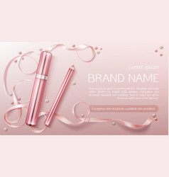 Lipstick and lip liner cosmetics make up product vector