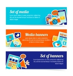 Media banner set vector image