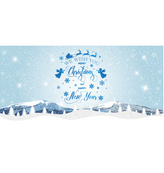 merry christmas and happy new year christmas snow vector image