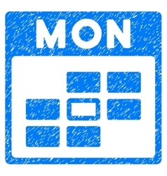 Monday Calendar Grid Grainy Texture Icon vector