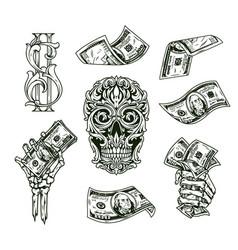 Money vintage monochrome composition vector