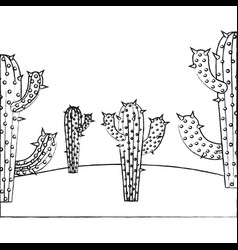 Monochrome blurred silhouette with cactus and vector