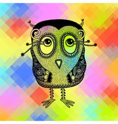 Original modern cute ornate doodle fantasy owl vector