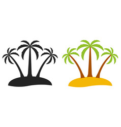 Palm tree desert island logo tourism three vector