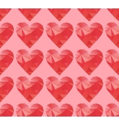 polygonal red hearts vector image