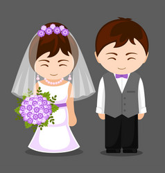 Pretty newlywed couple vector