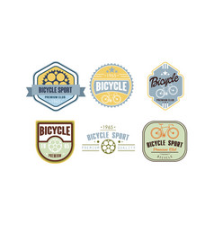 retro bicycle sport logo set vintafe badge label vector image
