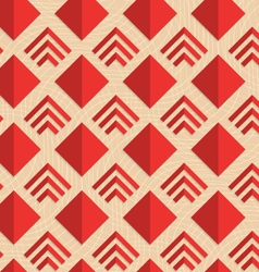 Retro fold red diamonds and stripes vector image