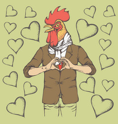 Rooster valentine day concept vector