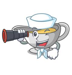 Sailor with binocular cartoon sauce boat with vector