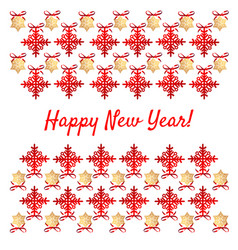 sample christmas poster with red snowflakes vector image
