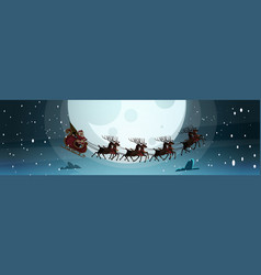 santa flying in sledge with reindeers in night sky vector image