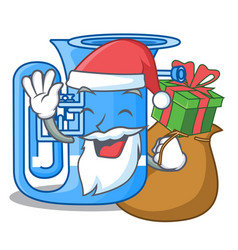 Santa with gift miniature tuba in the shape vector
